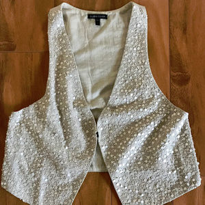 Eileen Fisher Tan Beaded Vest